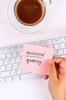 Het wachtwoord op de sticker
