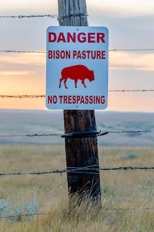 Het weidteken van de bizon op een houten fencepost in een bizonweiden in saskatchewan, canada