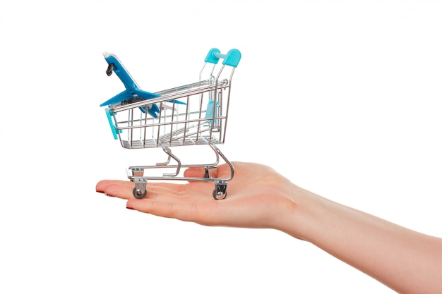 Het winkelwagentje in vrouwelijke handen geïsoleerd