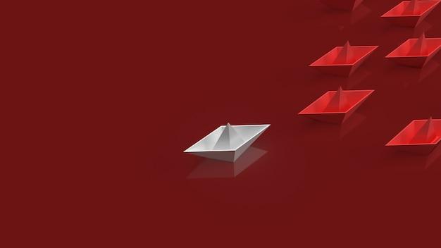 Het witte bootdocument op rode achtergrond voor het 3d teruggeven van de rode oceaanmarktinhoud.