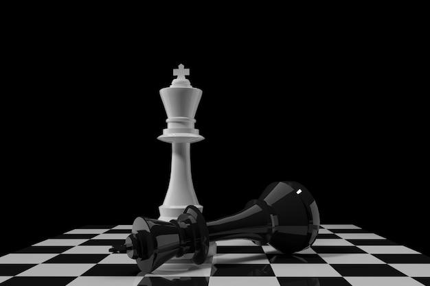 Het witte cijfer van de schaakkoning met zwarte schaakkoning op schaakbord in het 3d teruggeven