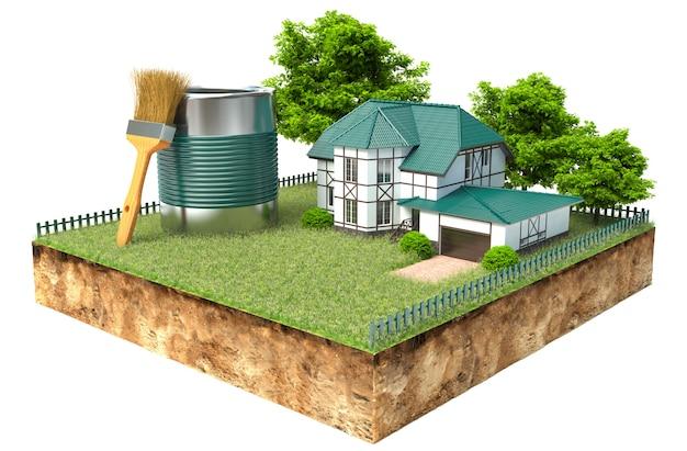 Het witte huis en pot verf en penseel op een stuk aarde met tuin en bomen