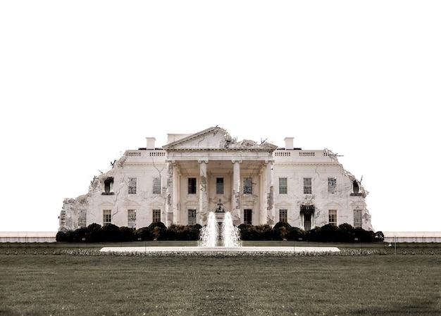 Het witte huis van washington is verwoest