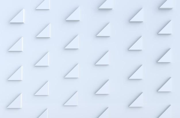 Het witte patroon als achtergrond met regelmatig uitgedreven driehoekenpatroon op 3d muur, geeft terug.