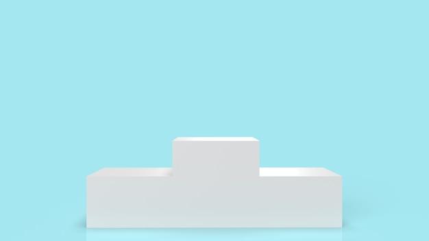 Het witte podiumplatform op het blauwe 3d teruggeven als achtergrond