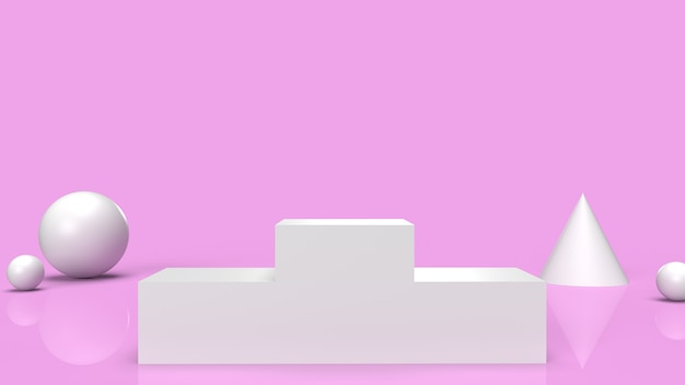 Het witte podiumplatform op het roze 3d teruggeven als achtergrond.