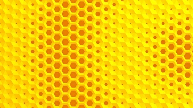 Het witte raster van cellen in de vorm van zeshoekige honingraten met verschillende diameters, die van groter naar kleiner gaan en omgekeerd