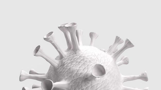 Het witte virus op een witte achtergrond voor medische of sci concept 3d-rendering