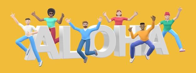 Het woord aloha. groep jonge multiculturele gelukkige mensen springen en dansen samen