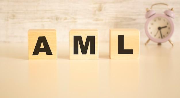 Het woord aml bestaat uit houten kubussen met letters, bovenaanzicht op een lichte ondergrond.