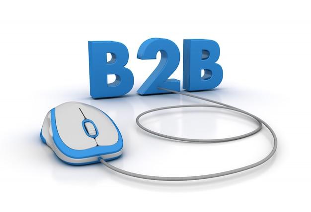 Het woord b2b met computermuis en globe world