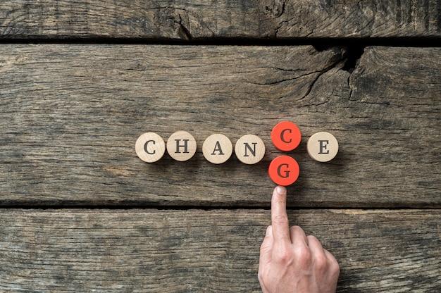 Het woord chance veranderen in change