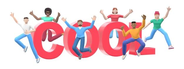 Het woord cool. groep jonge multiculturele gelukkige mensen springen en dansen samen.