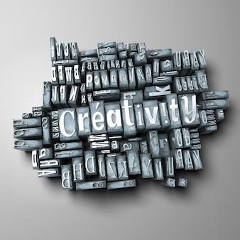 Het woord creativiteit in gedrukte briefgevallen