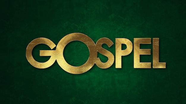 Het woord evangelieconcept dat in gouden textuur op houten achtergrond wordt geschreven.