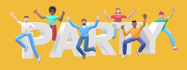Het woord feest. groep jonge multiculturele gelukkige mensen springen en dansen samen. stripfiguur en website slogan. 3d-weergave.