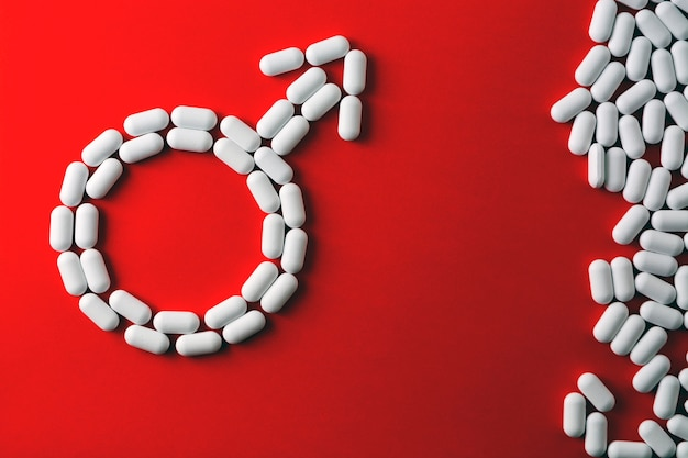 Het woord geslacht, capsules en tabletten. behandeling van erectiestoornissen, impotentie.
