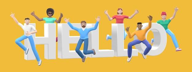 Het woord hallo. groep jonge multiculturele gelukkige mensen springen en dansen samen.