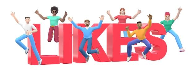 Het woord houdt van. groep jonge multiculturele gelukkige mensen springen en dansen samen.