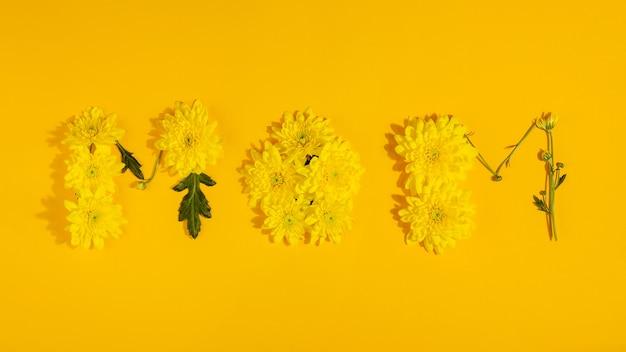 Het woord moeder opgemaakt van gele chrysanten op een gele ondergrond moederdag plat lay-out