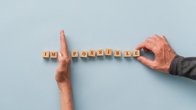 Het woord onmogelijk wijzigen in mogelijk