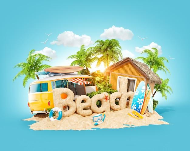 Het woord strand gemaakt van zand op een tropisch eiland. 3d illustratie van de zomervakantie