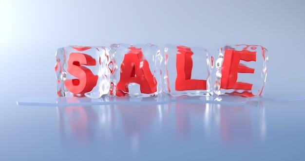 Het woord 'verkoop' staat in een ijsblokje op een lichtblauwe achtergrond.