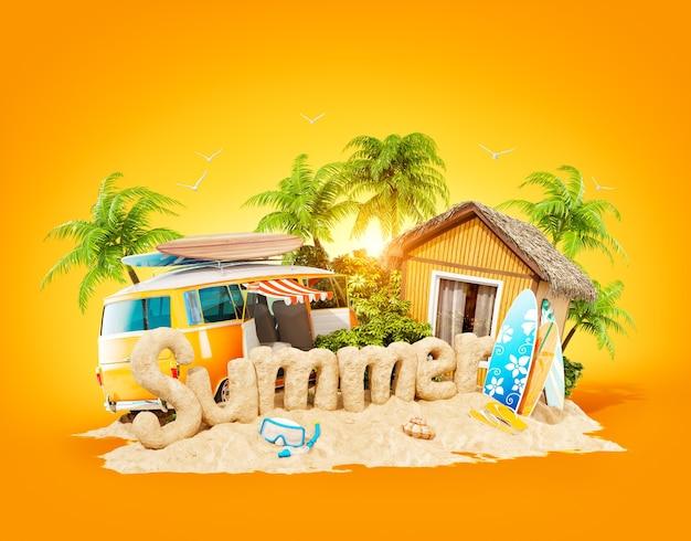 Het woord zomer gemaakt van zand op een tropisch eiland.