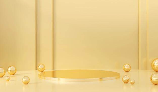 Het zachte product van het pastelkleur gele en gouden stadium met het huidige van de glasbal 3d teruggeven als achtergrond.