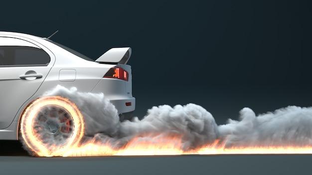 Het zijaanzicht van de auto beweegt en laat een spoor van vuur achter