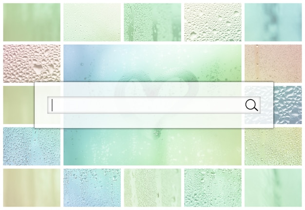 Het zoekveld bevindt zich boven op de collage van veel verschillende glasfragmenten