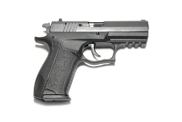Het zwarte pistool geïsoleerd