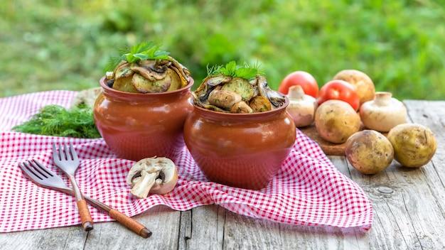 Hete aardappelen met champignons in kleipotten met kruiden. in de natuur.