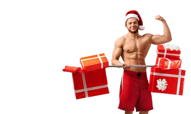 Hete gescheurde kerstman die zijn biceps laat zien