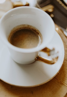 Hete koffie in een kop