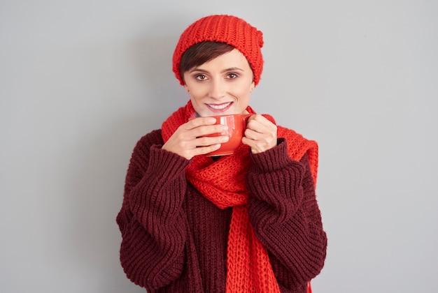 Hete koffie om op te warmen