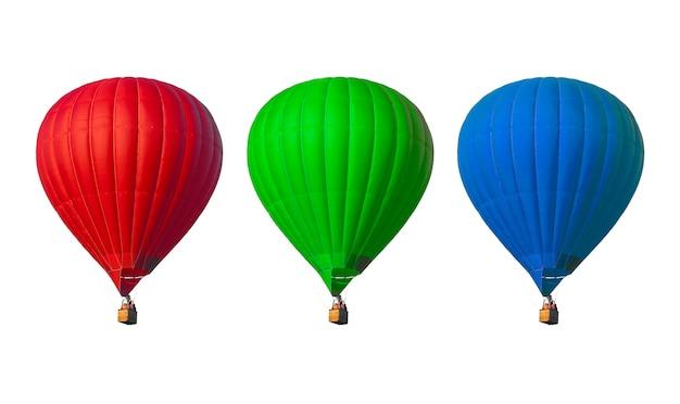 Hete lucht ballonnen geïsoleerd op wit