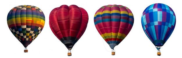 Hete luchtballon op witte achtergrond wordt geïsoleerd die.