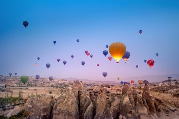 Hete luchtballons die in het mooie landschap van cappadocia bij zonsopgang vliegen