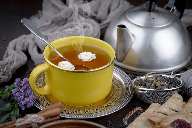 Hete thee in een kopje op een oude achtergrond