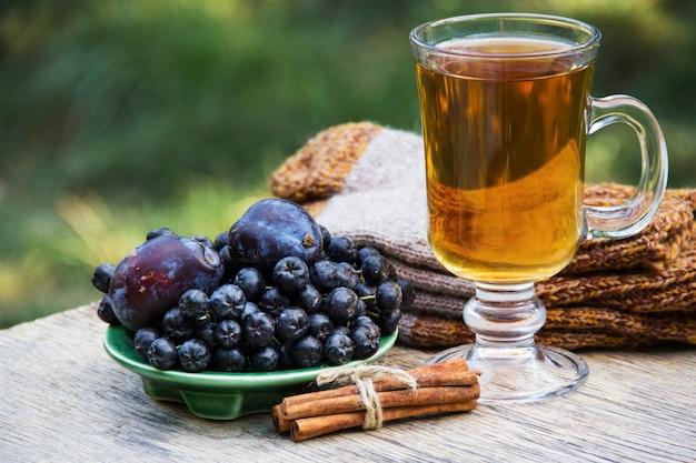 Hete thee met kaneel, pruimen en zwarte appelbes