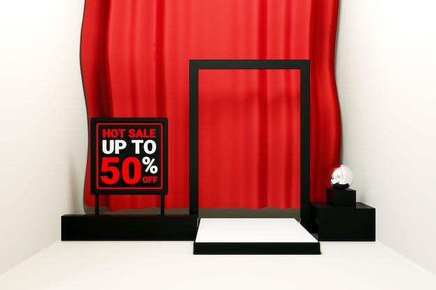 Hete verkoop tot vijftig procent tekst in de verkoop van een podiumproduct met rood gordijn 3d render