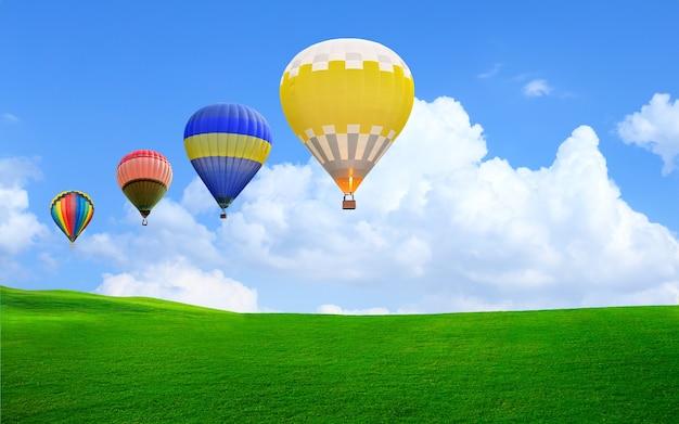 Heteluchtballon zweeft in de lucht boven groen gras