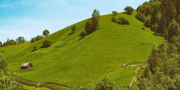 Heuvel met groen gras op blauwe hemel. verblijf in het dorp, ecotoerisme