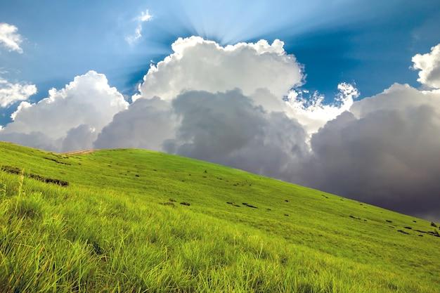 Heuvels bedekt met groen gras en blauwe lucht met witte gezwollen wolken