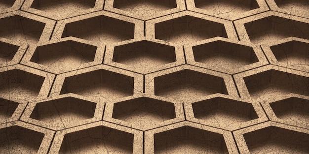 Hexagon abstract bee nest glanzende zeshoek zeshoekige muur 3d illustratie honingraatpatroon muur