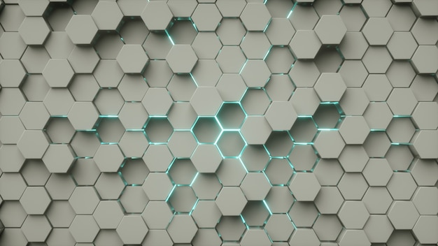 Hexagon patroon abstract grijs blauw neonlicht