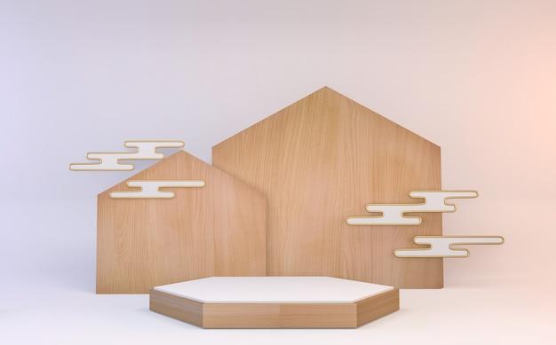 Hexagon podium houten ontwerp op wit minimaal ontwerp als achtergrond. 3d-weergave