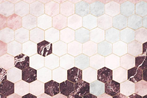 Hexagon roze marmeren tegels met patroon