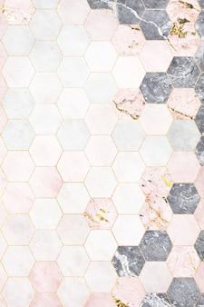 Hexagon roze marmeren tegels patroon achtergrond